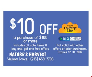 $10 off a purchase $100 or more