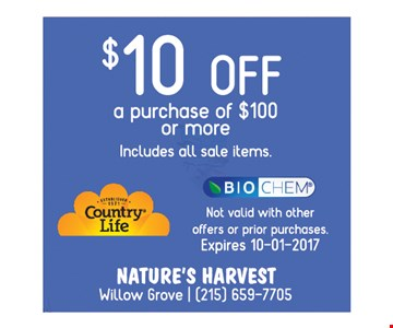 $10 off a purchase of $100 or more