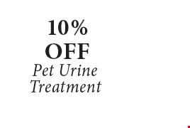 10% Off Pet Urine Treatment.