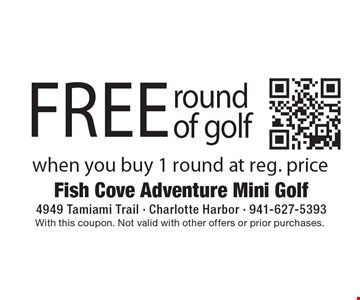 Free round of golf when you buy 1 round at reg. price. With this coupon. Not valid with other offers or prior purchases.