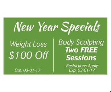 Weight loss $100 off / Two free sessions body sculpting