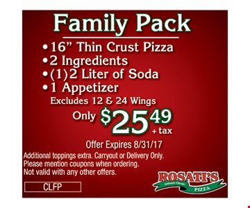 Family pack $25.49 +tax