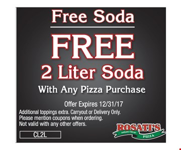free 2 liter of soda with any pizza purchase
