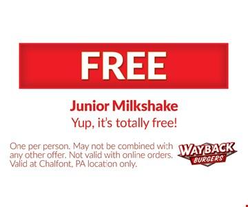 Free junior milkshake