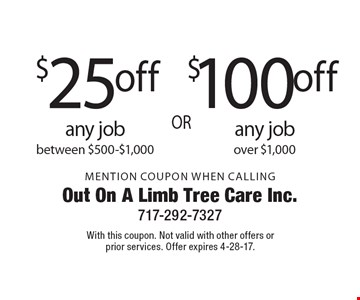 $10 0off any jobo ver $1,000 OR $25 off any job between $500-$1,000. Mention Coupon When Calling. With this coupon. Not valid with other offers or prior services. Offer expires 4-28-17.