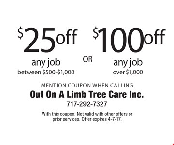 $100 off any job over $1,000. $25 off any job between $500-$1,000. Mention Coupon When Calling. With this coupon. Not valid with other offers or prior services. Offer expires 4-7-17.