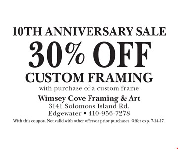 10th anniversary sale. 30% off custom framing with purchase of a custom frame. With this coupon. Not valid with other offers or prior purchases. Offer exp. 7-14-17.