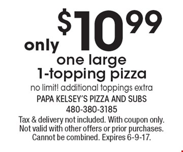 Only $10.99 One Large 1-Topping Pizza. No limit! Additional toppings extra. Tax & delivery not included. With coupon only. Not valid with other offers or prior purchases. Cannot be combined. Expires 6-9-17.