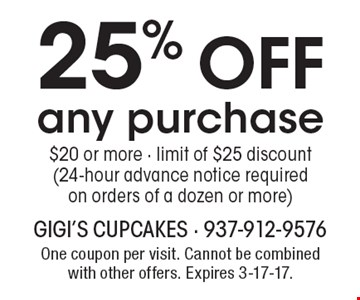 25% off any purchase $20 or more - limit of $25 discount (24-hour advance notice required on orders of a dozen or more). One coupon per visit. Cannot be combined with other offers. Expires 3-17-17.