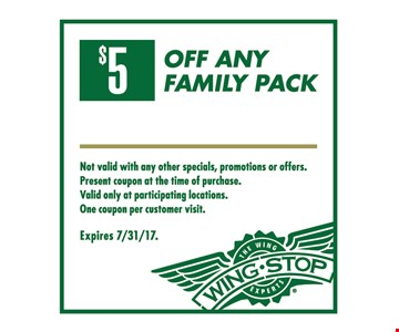 $5 Off any Family Pack