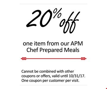 20% off one item from APM Chef Prepared Meals