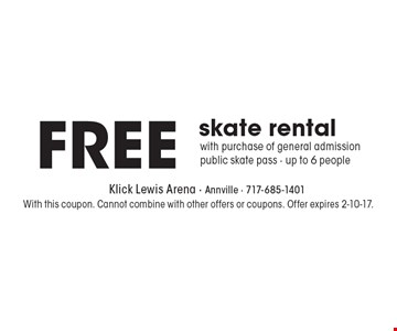 Free skate rental. With purchase of general admission public skate pass - up to 6 people. With this coupon. Cannot combine with other offers or coupons. Offer expires 2-10-17.