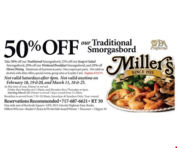 50% off our traditional smorgasbord