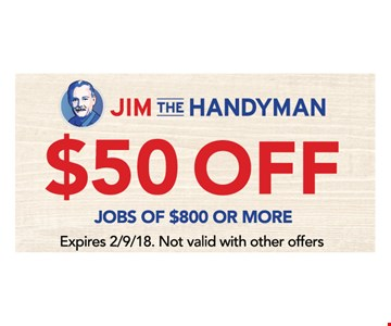 $50 off jobs of $800 or more