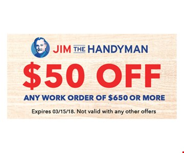 $50 off any $650 work order.