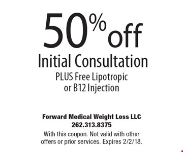 50% off Initial consultation. Free Lipotropic or B12 Injection. With this coupon. Not valid with other offers or prior services. Expires 2/2/18.
