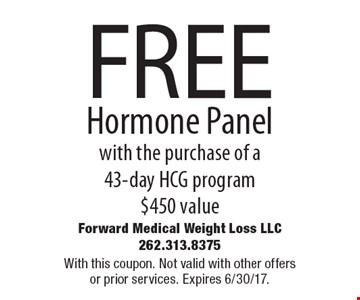 FREE Hormone Panel with the purchase of a 43-day HCG program $450 value. With this coupon. Not valid with other offers or prior services. Expires 6/30/17.