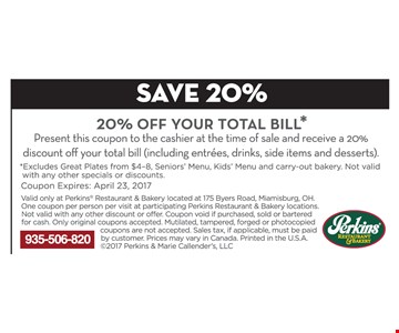 20% off your total bill