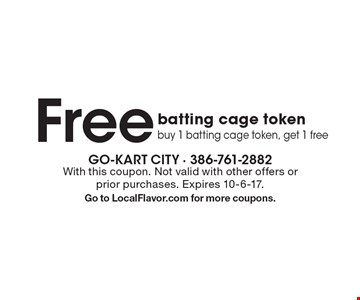 Free batting cage token. Buy 1 batting cage token, get 1 free. With this coupon. Not valid with other offers or prior purchases. Expires 10-6-17. Go to LocalFlavor.com for more coupons.