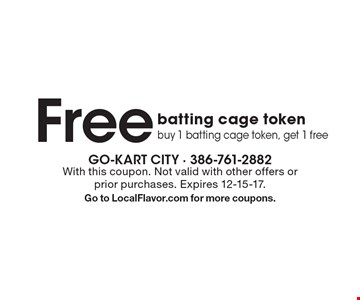 Free batting cage token. Buy 1 batting cage token, get 1 free. With this coupon. Not valid with other offers or prior purchases. Expires 12-15-17. Go to LocalFlavor.com for more coupons.
