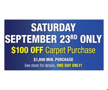 $100 Off Carpet Purchase