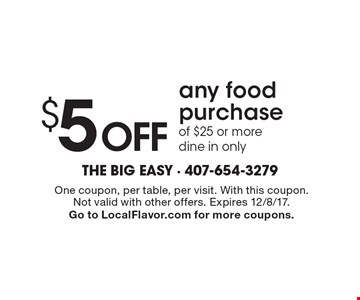 $5 Off any food purchase of $25 or more. Dine in only. One coupon, per table, per visit. With this coupon.Not valid with other offers. Expires 12/8/17. Go to LocalFlavor.com for more coupons.