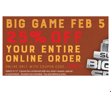 25% off you entire online order.