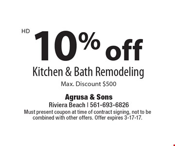 10% off Kitchen & Bath Remodeling. Max. Discount $500. Must present coupon at time of contract signing, not to be combined with other offers. Offer expires 3-17-17.