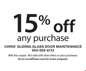 15% off any purchase. With this coupon. Not valid with other offers or prior purchases. Go to LocalFlavor.com for more coupons.