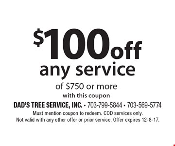 10% off any service. with this coupon. Must mention coupon to redeem. COD services only. Not valid with any other offer or prior service. Offer expires 12-8-17.