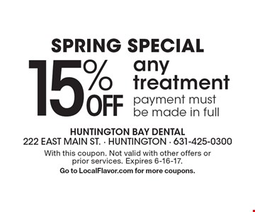 Spring Special. 15% OFF any treatment, payment must be made in full. With this coupon. Not valid with other offers or prior services. Expires 6-16-17. Go to LocalFlavor.com for more coupons.