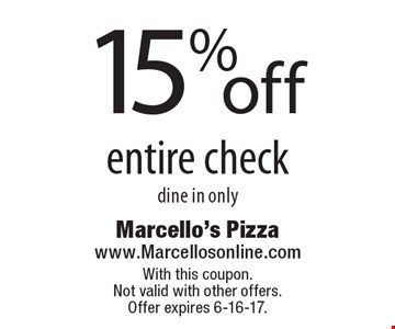 15% off entire check. Dine in only. With this coupon. Not valid with other offers. Offer expires 6-16-17.