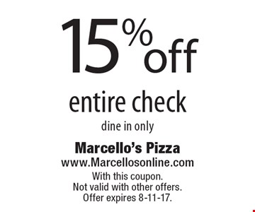 15% off entire check. Dine in only. With this coupon. Not valid with other offers. Offer expires 8-11-17.