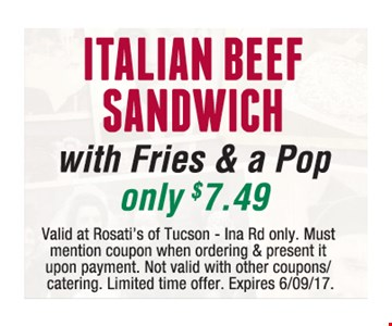Italian Beef Sandwich with Fries and a Pop only $7.49