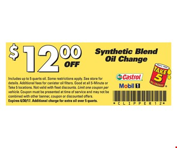 $12 off synthetic blend oil change