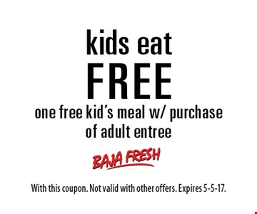 Kids Eat FREE. One free kid's meal w/ purchase of adult entree. With this coupon. Not valid with other offers. Expires 5-5-17.