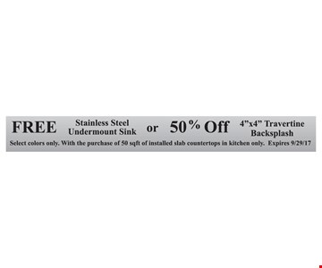 Free Stainless Steel Undercount Sink Or 50% Off 4