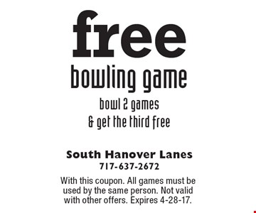 Free bowling game. Bowl 2 games & get the third free. With this coupon. All games must be used by the same person. Not valid with other offers. Expires 4-28-17.