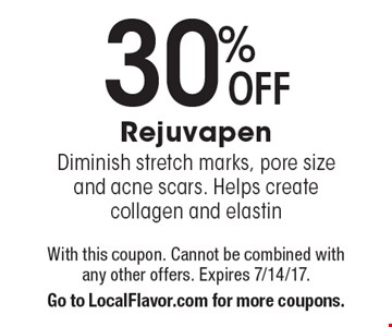 30% Off Rejuvapen. Diminish stretch marks, pore size and acne scars. Helps create collagen and elastin. With this coupon. Cannot be combined with any other offers. Expires 7/14/17. Go to LocalFlavor.com for more coupons.