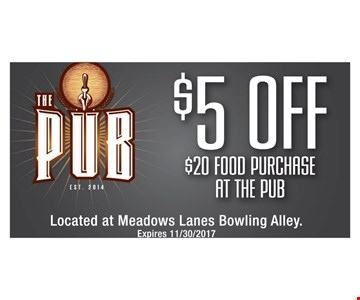 $5 off $20 food purchase at the pub