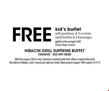 Free kid's buffet with purchase of 3 or more adult buffets & 3 beverages applies to the youngest child Seven days a week. With this coupon. Dine in only. Cannot be combined with other offers or special discounts. Not valid on holidays. Limit 1 person per table per check. Must present coupon. Offer expires 10-6-17.