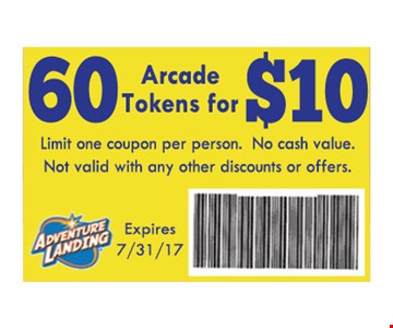 60 Arcade Tokens for $10