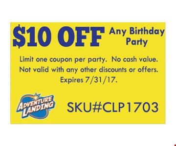$10 off any birthday party