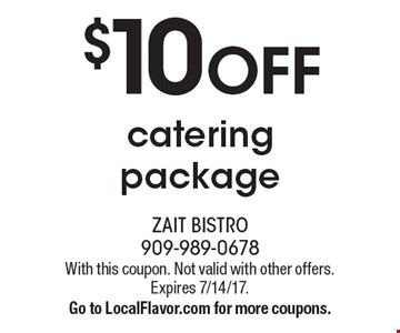 $10 OFF catering package. With this coupon. Not valid with other offers. Expires 7/14/17. Go to LocalFlavor.com for more coupons.