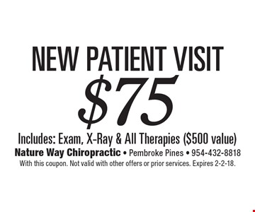 $75 New Patient Visit Includes: Exam, X-Ray & All Therapies ($500 value). With this coupon. Not valid with other offers or prior services. Expires 2-2-18.