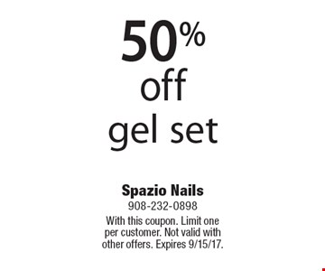 50%off gel set. With this coupon. Limit one per customer. Not valid with other offers. Expires 9/15/17.