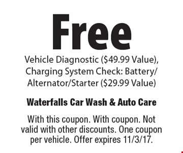 Free vehicle diagnostic ($49.99 Value),Charging system check: battery/alternator/starter ($29.99 Value). With this coupon. With coupon. Not valid with other discounts. One coupon per vehicle. Offer expires 11/3/17.