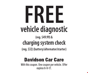 Free vehicle diagnostic (reg. $49.99) & charging system check (reg. $32) (battery/alternator/starter). With this coupon. One coupon per vehicle. Offer expires 6-9-17.