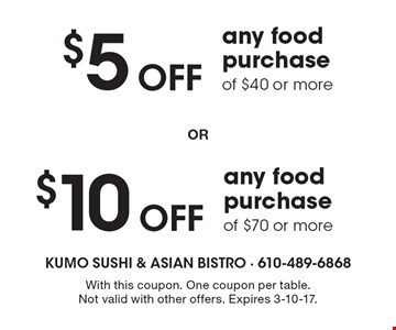 $5 Off any food purchase of $40 or more. $10 Off any food purchase of $70 or more. With this coupon. One coupon per table.Not valid with other offers. Expires 3-10-17.
