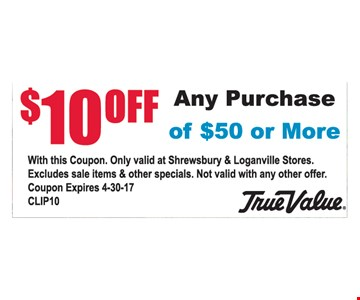 $10 off any purchase of $50 or more